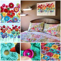Button Flower Wall Art Step by Step Crochet Wall art Crochet Diy, Crochet Wall Art, Crochet Home, Love Crochet, Crochet Crafts, Crochet Projects, Tutorial Crochet, Crochet Ideas, Simple Crochet