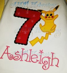 7d63070d Items similar to Pikachu Pokemon Embroidered Personalized Birthday Shirt  Girls on Etsy