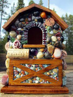 Red Wine Mosaic Birdhouse Barn by WinestoneBirdhouses on Etsy, $89.00