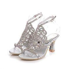 5e1aa13fa66e42 Geminigirl Womens Rhinestone Sandals with Chunky Heels Wedding Bridal  Bridesmaid Shoes Silver 10 M US    For more information