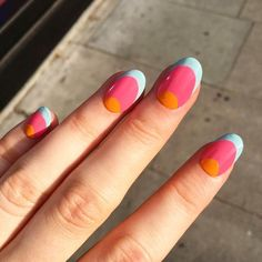 Orange, pink and blue nails is part of Summer nails Pastel Yellow - Popular Ladies Do It Yourself Nails, How To Do Nails, Nail Design Glitter, Ten Nails, Diy Nail Designs, Art Designs, Chrome Nails, Blue Nails, Nail Art Blue