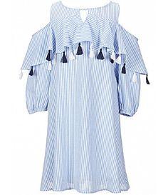 2181efa00e5 Copper Key Big Girls 7-16 Cold Shoulder Striped Woven Trapeze Dress