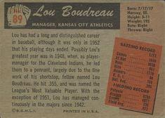 1955 Bowman #89 Lou Boudreau Back