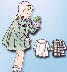 1940 Vintage Butterick Sewing Pattern 4568 Toddler Girls Flared Coat Size 6 24 B