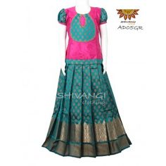 Tiny floral pattern all over the skirt with golden zari green skirt. Top is semi silk with broad patchwork with beaded lace work. Source by nishakamal Blouses Kids Party Wear Dresses, Kids Dress Wear, Kids Gown, Dresses Kids Girl, Baby Dresses, Kids Wear, Kids Blouse Designs, Kurta Designs Women, Dress Neck Designs