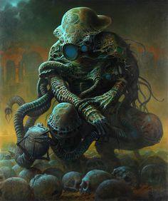 cthulhu dark fantasy painting by zawadzki Dark Fantasy Art, Dark Art, Monster Concept Art, Monster Art, Creepy Art, Weird Art, Bizarre Art, Scary, Creature Concept Art