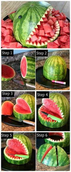 How To Make A Watermelon Shark ~Fun and easy. A Watermelon Shark is the perfect way to serve summer's natural dessert at your next party. Shark Party Foods, Snacks Für Party, Easy Kid Party Food, Watermelon Carving Easy, Party Fotos, Watermelon Birthday Parties, Luau, Bbq, Kitchens