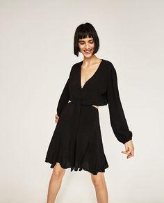 Side Waist Cut Out Flared Dress from Zara R699,00