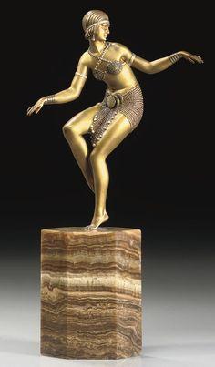"""Pierre Le Faguays, """"Danseuse au Thyrse"""" a cold-painted bronze and Ivory figure, France circa 1925 Art Deco Period, Art Deco Era, Bronze Sculpture, Sculpture Art, Statues, Art Nouveau, Beaux Arts Paris, Estilo Art Deco, Art Deco Design"""