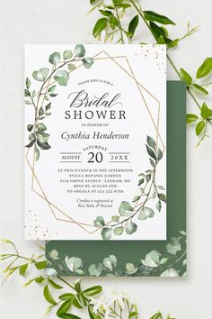 """""""Greenery Eucalyptus Geometric"""" is one of the most popular invitation theme for Every Occasion!. We created amazing custom designs for this theme from Invitations to RSVP card, Information Card, Labels, Sign Posters and more. #bridalshower Country Wedding Invitations, Wedding Invitation Design, Invitation Suite, Wedding Themes, Bridal Shower Invitations, Botanical Gardens, Rsvp, Greenery, Custom Design"""