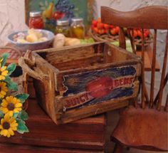 Antiqued Farmstand Apple Crate 1:12 Scale Miniature Dollhouse Accessory