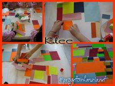 """laboratorio: ART AND LANGUAGE; Scuola infanzia Casatico ; Mantova MESCOLANDO L'ARTE CON LA LINGUA #INGLESE dal quadro di #Klee """" Flora sulla sabbia """" Le forme geometriche: il quadrato e il rettangolo Ciao, mi presento sono """" Paul Klee """" e vi ho portato il mio #quadro intitolato …….. #Florasullasabbia"""