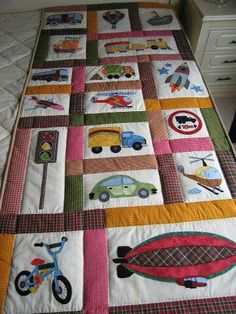 Vehiculos Quilt Baby, Baby Boy Quilt Patterns, Applique Quilt Patterns, Quilting Projects, Sewing Projects, Baby Quilt Tutorials, Hawaiian Quilts, Patchwork Quilting, Quilt Making