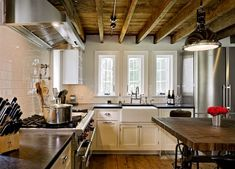 The exposed beams are def happening when the kitchen gets remodeled. ~~~~~ Exposed Beams Kitchen Design Ideas, Pictures, Remodel and Decor Exposed Basement Ceiling, Wood Ceilings, Ceiling Beams, House Ceiling, Timber Ceiling, Open Ceiling, Plank Ceiling, Ceiling Windows, Ceiling Fan