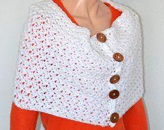 Cuello blanco calentador / capucha blanco Crochet / hecho a mano chimenea / regalo de Navidad / artículo de tendencias de invierno moda / caída y capucha moda de primavera