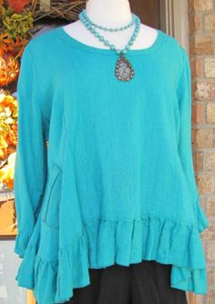 Ladies Dark Turquoise 100% linen 3/4 sleeve Rosie top by BeckysSassyCreations on Etsy