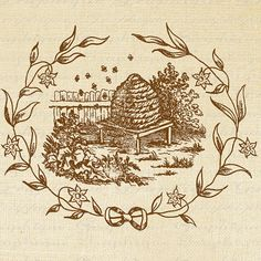 Beehive Bee Skep Flower Frame Bees Digital Image Download Sheet Transfer To Pillows Totes Tea Towels Burlap No. 2122