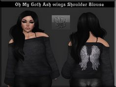 Ash Wings Shoulder Blouse SL Freebies. The black shoulder blouse with the ash wings print on the back is a freebie on marketplace. You will receive five