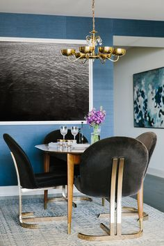 Polished Contemporary Luxe Dining Room Brass Elements  Large Art Grasscloth Blue Wallpaper