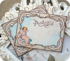 NEW - Vintage Angel Cherub Post Card Tags / Note Cards / Journaling - Cottage Shabby Chic - Set of 6. $5.95, via Etsy.