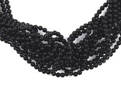 Genuine Black Onyx 4mm Smooth Round Bead in Strand 95 beads