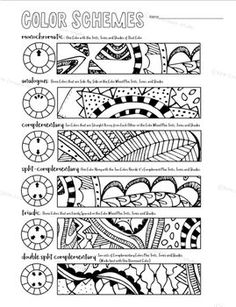 A handy worksheet in .docx form for students to learn quickly the various color schemes available for them. They will use colored pencils to color in the designs using only the colors from the particular color scheme they are using. They will need several colors of pencils as well as black, white and/or