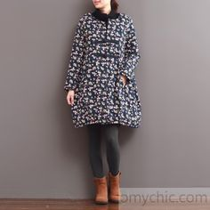 2016 winter indigo blue floral thick down jackets cotton coats Chinese style
