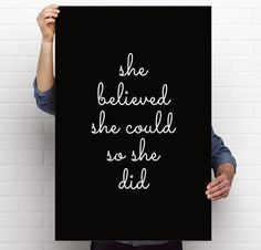 Poster Printable She Believed She Could So She by BrightAndBonny