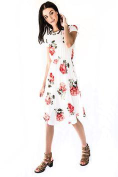 Ivory Love Rose Midi Dress