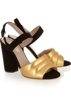 Marc Jacobs|Metallic leather and suede sandals