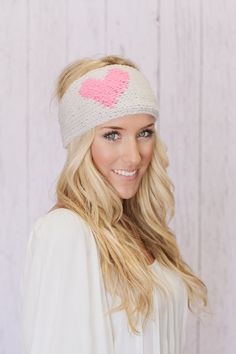 LOVE Knitted Heart Headband Oatmeal & Pink Ear Warmer by Three Bird Nest