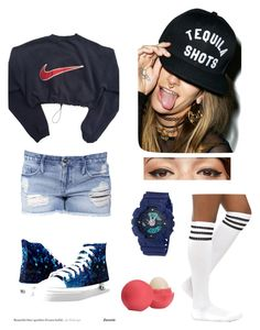 """Watching the match with bae <3"" by mezzymezmez on Polyvore featuring Black Orchid, Disney, Reason, NIKE, Benefit, G-Shock and Eos"