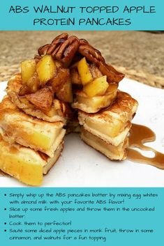 Check out our ABS #Walnut Topped #Apple #Protein #Pancakes! Protein Waffles, Fresh Apples, Waffle Recipes, Almond, Health Fitness, Abs, Gluten Free, Fruit, Cooking
