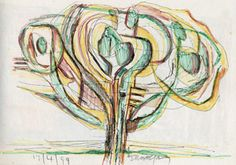 "Errol Moo Young -  ""Tree modified ""  Mixed media, pastel, pen and pencil line, abstract drawing on paper."