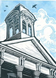 [caption align=alignleft Mitchell County Courthouse Cupola[/caption] A beautiful image of a lost treasure. Engraving Printing, Wood Engraving, Linocut Prints, Art Prints, 8th Grade Art, Scratchboard, Print Artist, Urban Landscape, Pattern Art