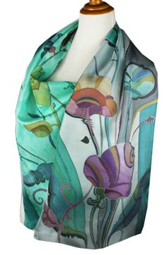 Silk Scarf Floral Dream in Teal and Gray Hand by FineArtSilk, $155.00