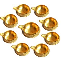 Handicraft Brass Diwali Diya Lamp Combo Of 9 Pieces By Anjalika Festive Decor on Shimply.com