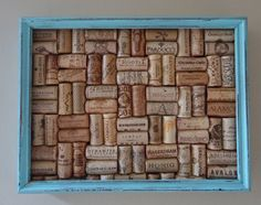 Wine Cork Board with Aqua Distressed Frame