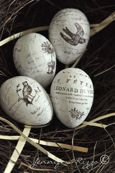 Hand Stamped Easter Eggs Decor