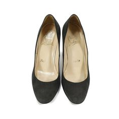 Christian Louboutin classic pumps crafted in a dark grey suede and designed with an almond toe front and straight heel. Heel height measures 8.5cm. Please note that there are scuffs on side and heel on both pairs.  |