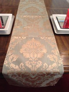 Charmant Shimmery Gold And Green Damask Design Table By DorethaRoseDesigns
