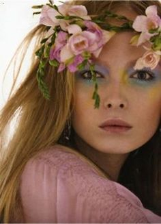 fairy flowers and eye makeup
