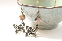 Butterfly earrings, bronze earrings, gemstone earrings by Thistledown Wishes on Etsy and Folksy