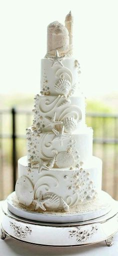 Beach wedding cake for all your cake decorating supplies please beautiful cake wedding junglespirit Image collections