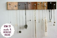 Use wood floor samples to make a really awesome diy jewelry organizer!
