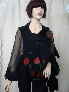 Nuno felted black scarf with red roses.. Wool and von ElisFeltCraft, $75.00