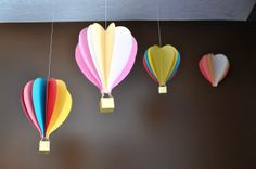 DIY hot air balloon mobile, by I Am Momma Hear Me Roar Art For Kids, Crafts For Kids, Arts And Crafts, Paper Crafts, Kid Art, Craft Tutorials, Craft Projects, Projects To Try, Upcycled Crafts