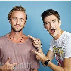 Tom Felton and Grant Gustin from The Flash. DC comics