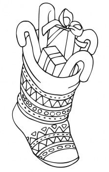 stocking stuffed with goodies coloring page