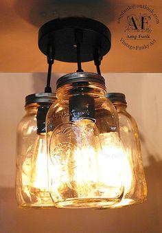 Mason Golden Harvest Jar ceiling light vintage by VintageAmpFunk, $149.99
